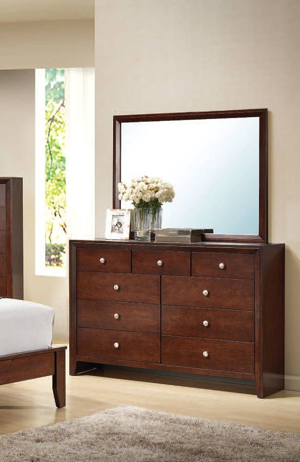 Ilana Contemporary Cherry Wood Glass Dresser And Mirror