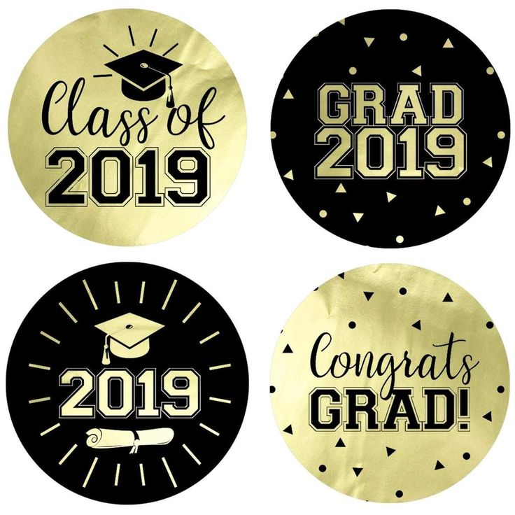 Gold Graduation - 2019 Grad Large Round Stickers on Gold Foil - 40 Count