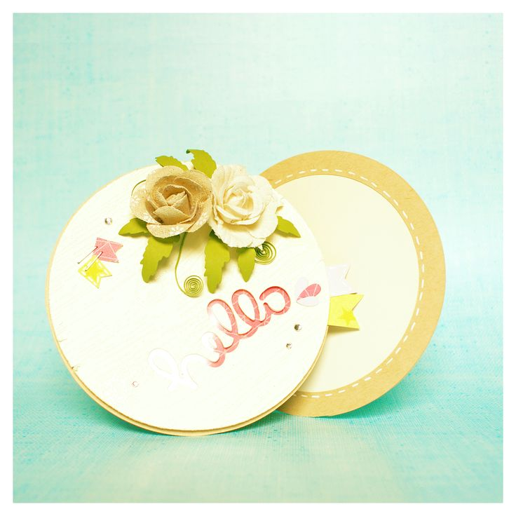 simple created round slider card with labyrinth game and stylish fabric flowers.    see more details on > http://goebie.blogspot.de/2017/02/speak-in-flowers.html    @lawnfawn #cardmaking #slidercard #interactivecard #labyrinth #labyrinthgame #papercraft #fabricflowers #hobbyfun #memorybox #googlyeyes #lawncuts