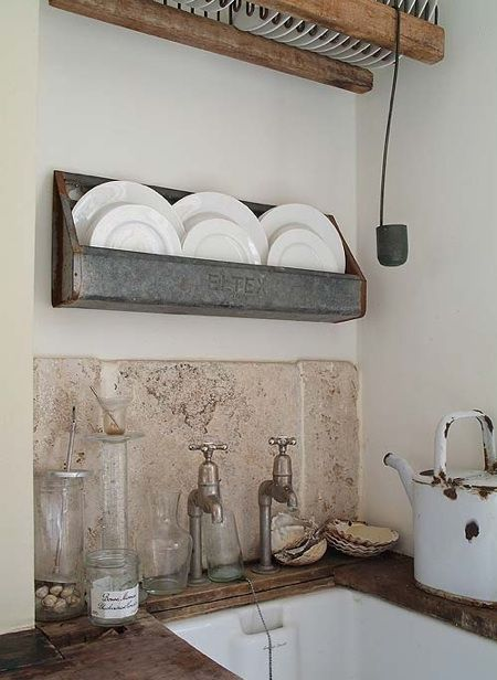 rustic & charming - love the sink, faucet, zinc plate rack