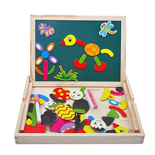 cool Juguete de Madera Pizarra Blanca Tablero Magnéticos Educativoscon Caballete Puzzle para Regalos Niños Infantil de 3 4 5 Años
