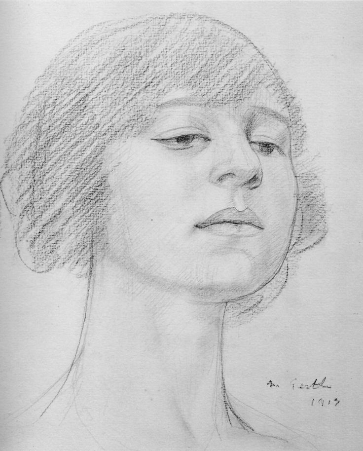 Mark Gertler: lovely drawing of Dora Carrington (he was madly and hopelessly in love with her) who in turn was hopelessly in love with the homosexual writer Lytton Strachey