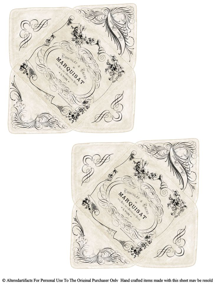 Vintage French Chocolate Change Pocket Envelope Free Printable...these will make adorable envelopes!