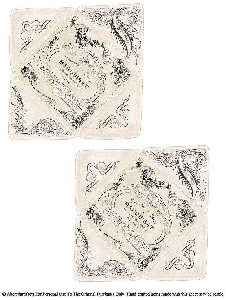 Vintage French Chocolate Change Pocket Envelope Free Printable...these will make adorable envelopes!