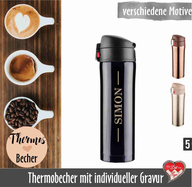 thermobecher mit gravur isolierbecher mit name coffee to. Black Bedroom Furniture Sets. Home Design Ideas