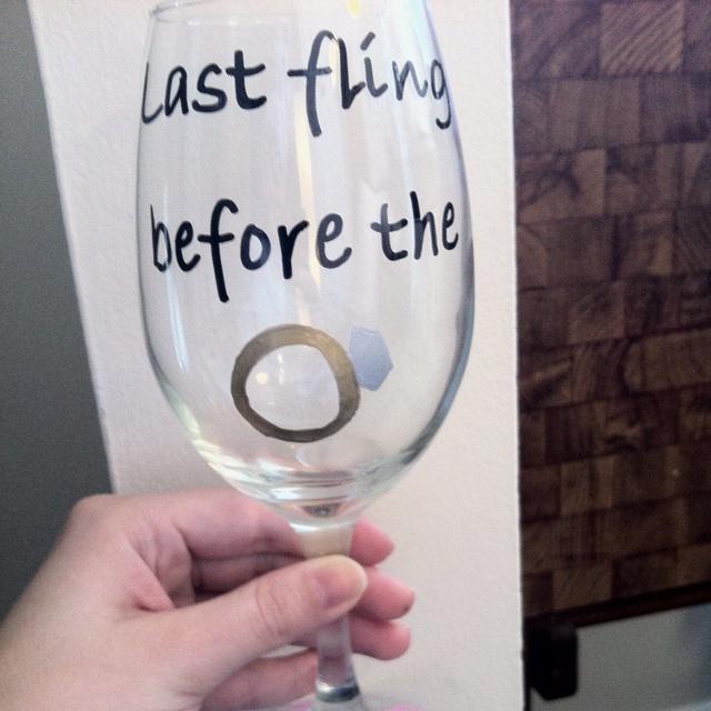 Bachelorette wine glasses using a sharpie paint pen!!