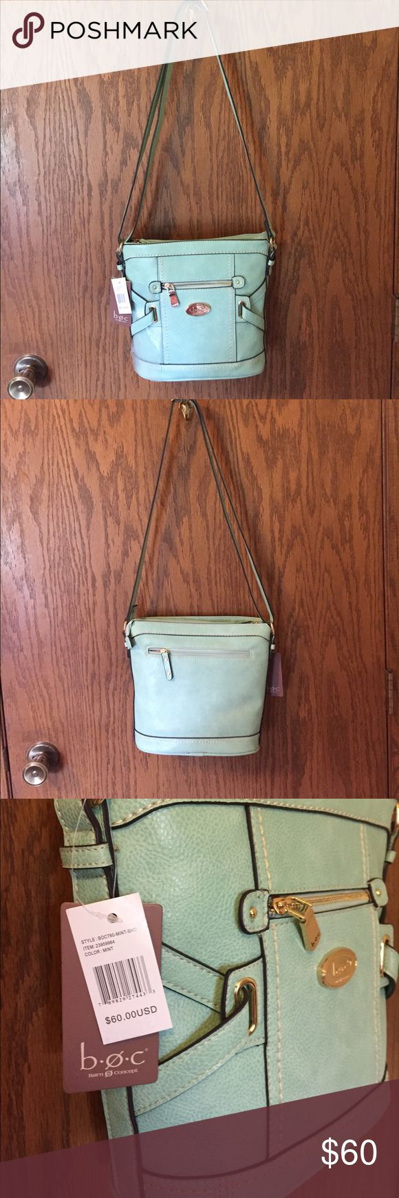 NWT b.o.c. SHOULDER BAG Newest purse listed.  This fun mint purse has adjustable straps, gold hardware, zippered outside pocket, divider, zippered inside pocket and two open pockets for cell phone, keys etc... b.o.c. Bags Shoulder Bags
