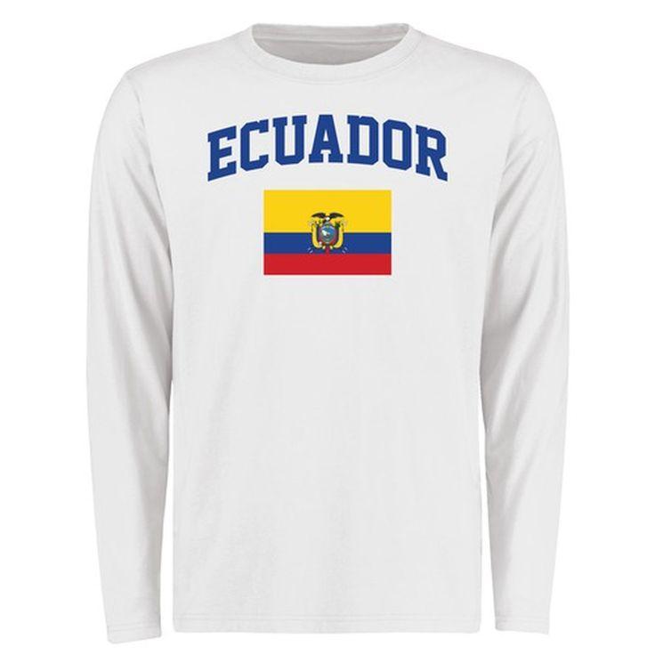 Ecuador Flag Long Sleeve T-Shirt - White - $27.99