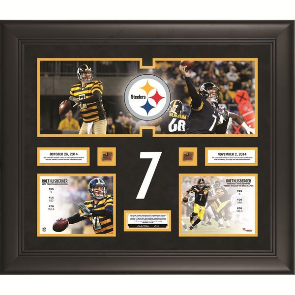 """Ben Roethlisberger Pittsburgh Steelers Fanatics Authentic Framed 20"""" x 24"""" Becomes The First Quarterback In NFL History To Throw 6 Touchdown Passes In Back To Back Games Collage With Game-Used Football - Limited Edition of 250 - $149.99"""