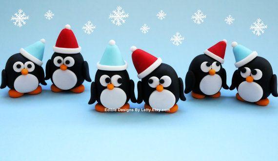 6 Edible Fondant Penguins Cupcake Toppers For Winter Wonderland / OneDerland Themed Birthday on Etsy, $24.00