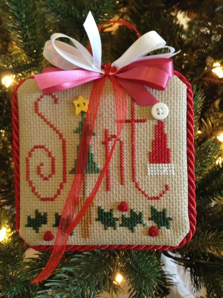 Completed Cross Stitch Lizzie Kate Christmas Ornament Santa Hat | eBay