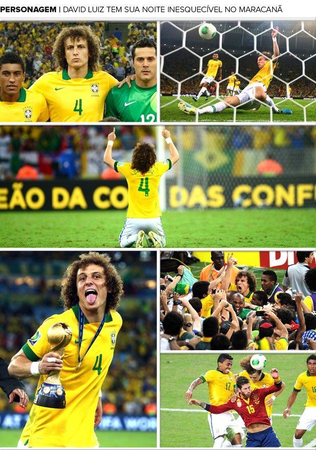 A garra, aliás, foi responsável por consagrar David Luiz diante do povo brasileiro. Desconhecido quando convocado pela primeira vez, em julho de 2010, o zagueiro virou o xodó de mais de 73 mil pessoas no Maracanã. E por que não dizer de milhões e milhões de torcedores da Seleção que vibraram no mundo inteiro, como se fosse um gol, quando ele arrancou com o pé direito o grito de gol ensaiado pelos espanhóis. Em 30/06/2013.