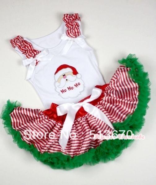 Рождество детские красная полоса зеленый юбка белый топ дед мороз рюшами с бантом MANN19