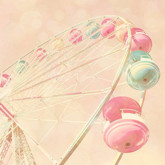 Carnival photo nursery decor pastel pink baby girl room dreamy dusty rose baby blue circus ferris wheel - Pink Rainbow 8x8