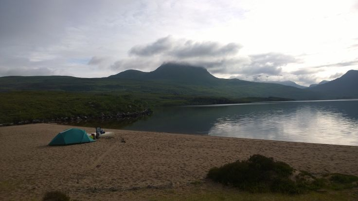 Ideal beach for quiet overnight by Loch Lurgainn. Beach pockmarked by deer.