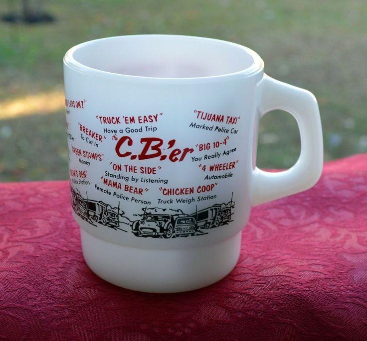 VINTAGE FIRE KING MILK GLASS C.B.'er COFFEE MUG HAS TRUCKER SLANG