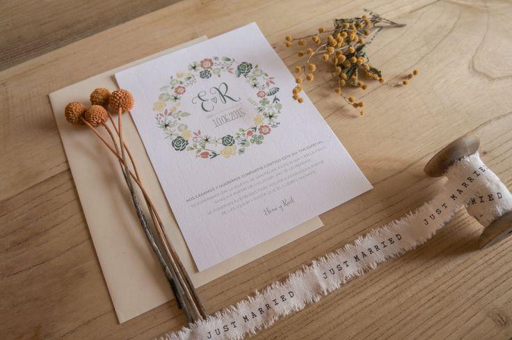 Floral wedding invitation / Invitación de boda con motivos florales