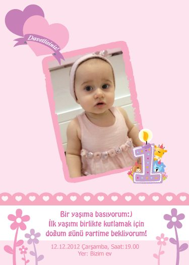Elif Serra'nın bir yaş doğum günü davetiyesi – Purple & Purple