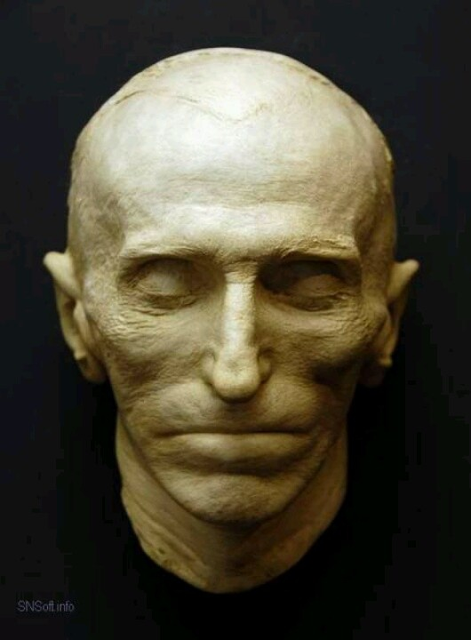 """Nikola Tesla death mask. """"Let the future tell the truth, and evaluate each one according to his work and accomplishments. The present is theirs; the future, for which I have really worked, is mine."""" -Nikola Tesla ...  Did Tesla hide secrets in his poetry?    There was a young lady named Bright -  Who traveled much faster than light -   She departed one day -  In an Einsteinium way -   And returned on the previous night."""