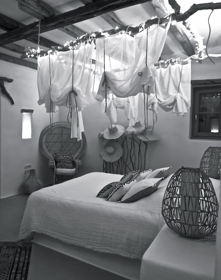 Dream bedroom with hanging lights.