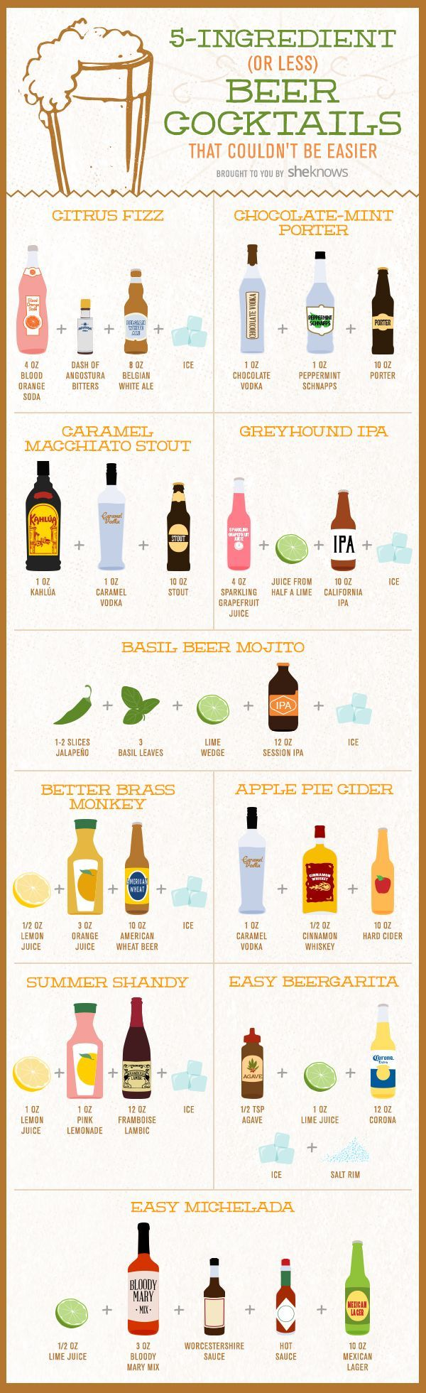 10 Super-easy beer cocktails with 5 ingredients or less - Custom illustrations and design made for SheKnows #GraphicDesign #cocktailrecipes