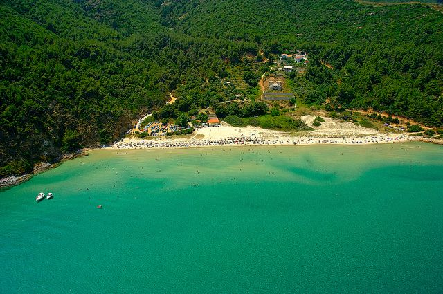 One of the many sandy beaches of Thassos - most of them are shallow and without any currents, so they are perfect for family holidays by the sea