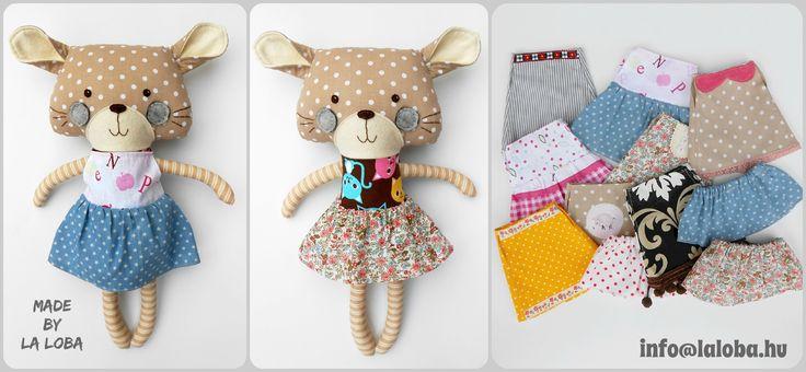 Dress up cat, La Loba doll, dress up plush, design: dollsanddaydreams