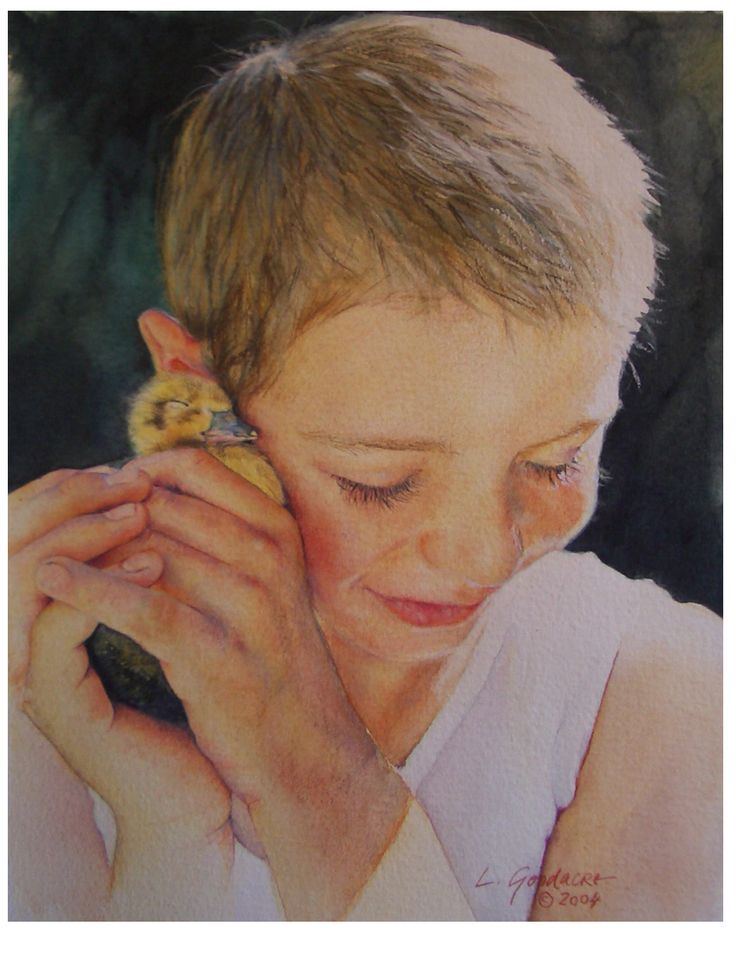 Portrait of Sam and Duckling. Watercolour on Arches paper.