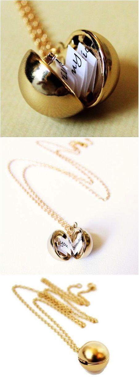 Hidden Secret Message Necklace Jewelry with Vintage Ball Pendant – Makes a Surpr…