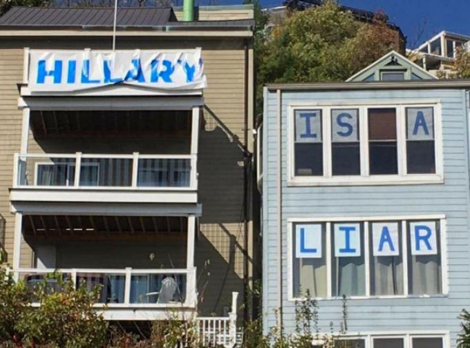 Homeowner Puts Up A Hillary Sign – Their Neighbor Decides To Add Their Own - http://eradaily.com/homeowner-puts-hillary-sign-neighbor-decides-add/