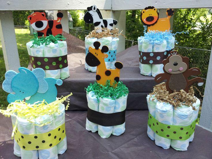 baby shower arrangements for a boy zoo theme | Jungle Safari Theme Mini Diaper Cakes Baby Shower Centerpiece
