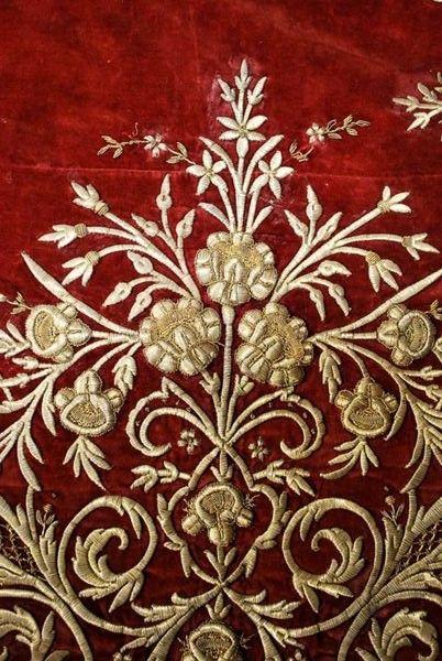 Late Ottoman Tablecloth Ca 1900 Gold Dival Work Maraş