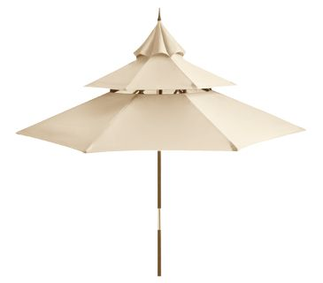 Great sourcing of outdoor furniture & accessories from Real Simple. Sandshell Pagoda Umbrella from  Pier One