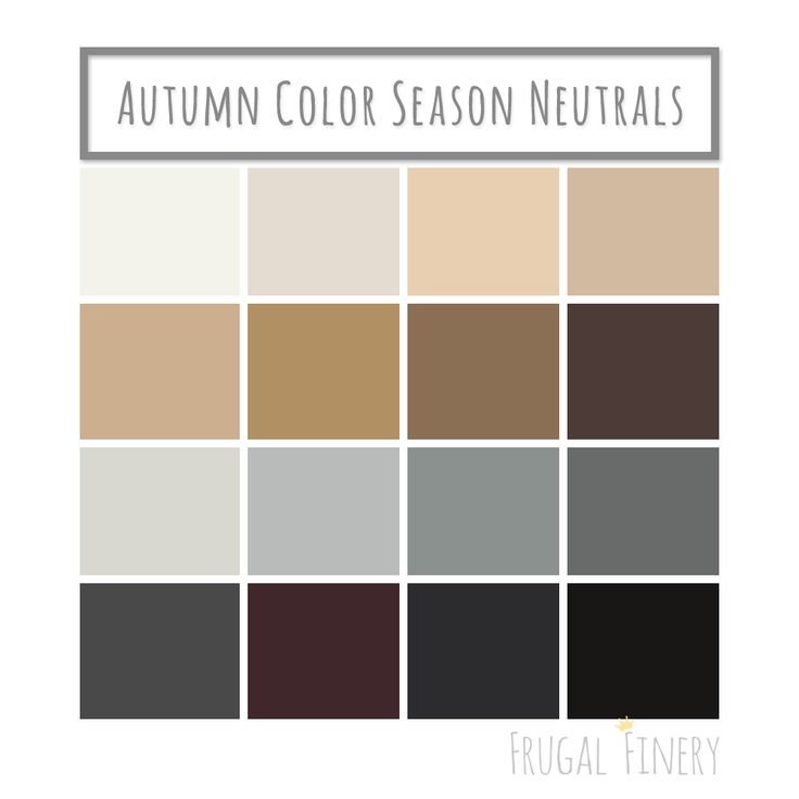 Neutral colors for the Autumn Color Season wardrobe palette. No pure white or pure black (unless you're a dark or deep Autumn). Instead opt for shades of beige, brown, warm grays, and the darkest variations of warm colors in place of black.