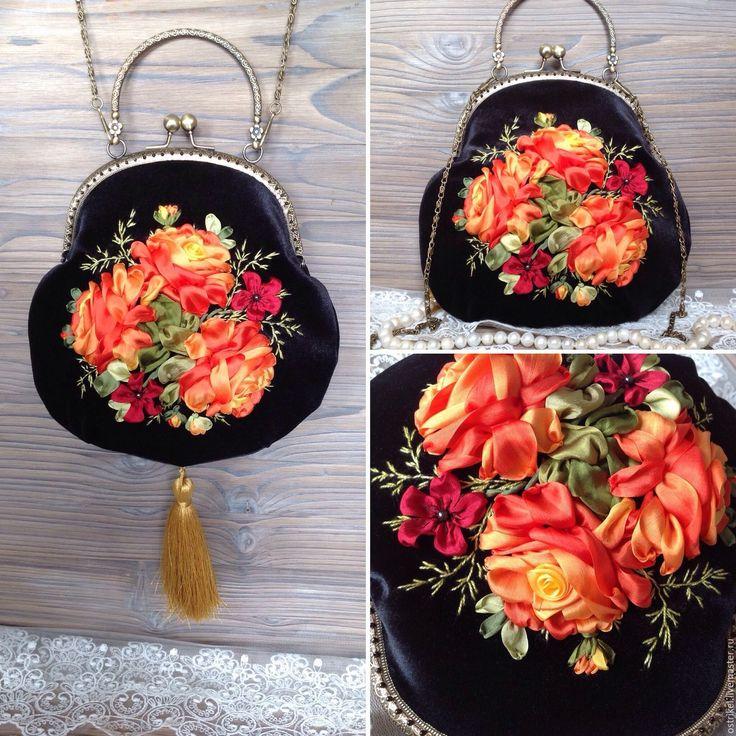 """Купить Бархатная сумочка """"Золотые розы"""" - черный, золотой, сумочка, бархатная сумочка, вечерняя сумочка"""