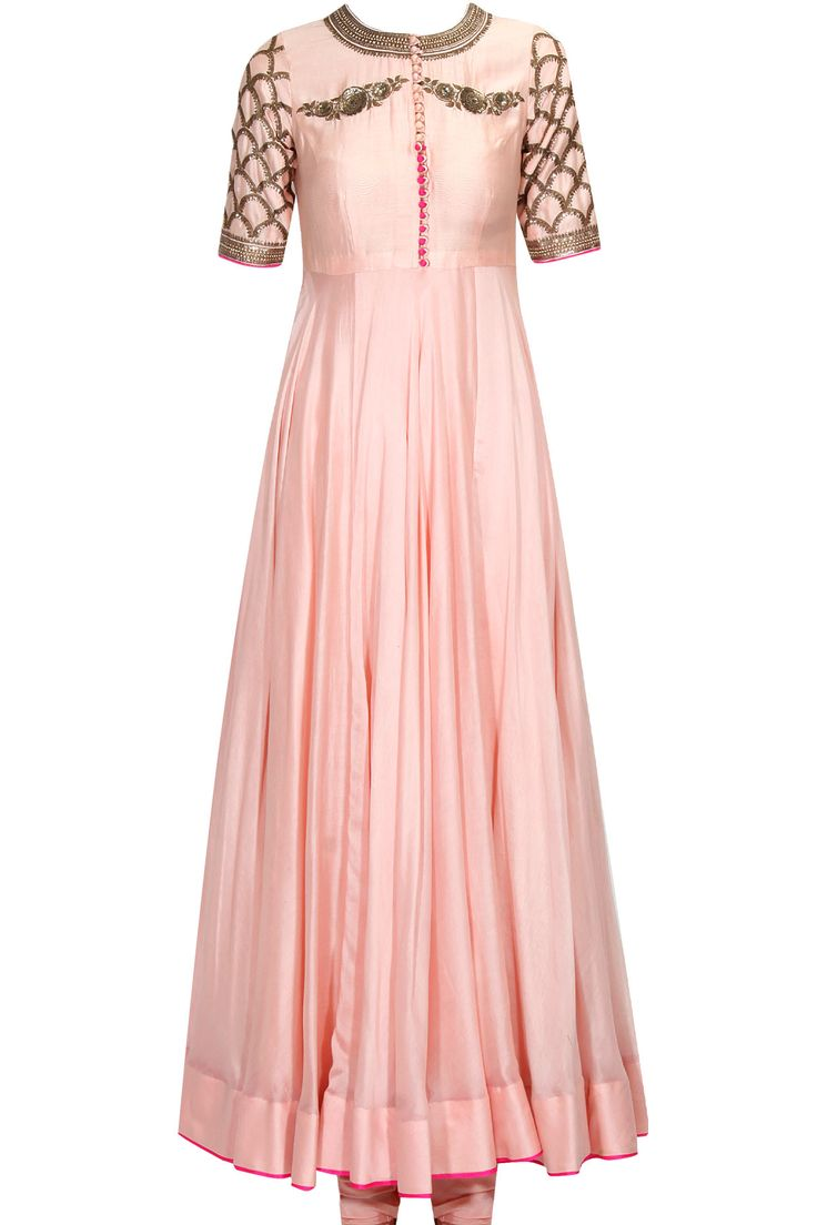 Light pink zari and sequins embroidered anarkali set available only at Pernia's Pop Up Shop.