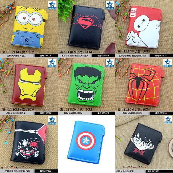 PU Button Short Wallet/Purse of Minion/Captain America/Batman v Superman/Big Hero 6/Iron Man/Hulk/Spider Man/Tokyo Ghoul/Conan