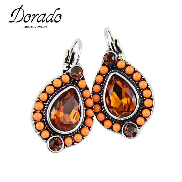 Dorado Newest Women Ethnic Vintage Colorful Beads Big Rhinestones Drop Dangle Earrings For Women Fashion brinco