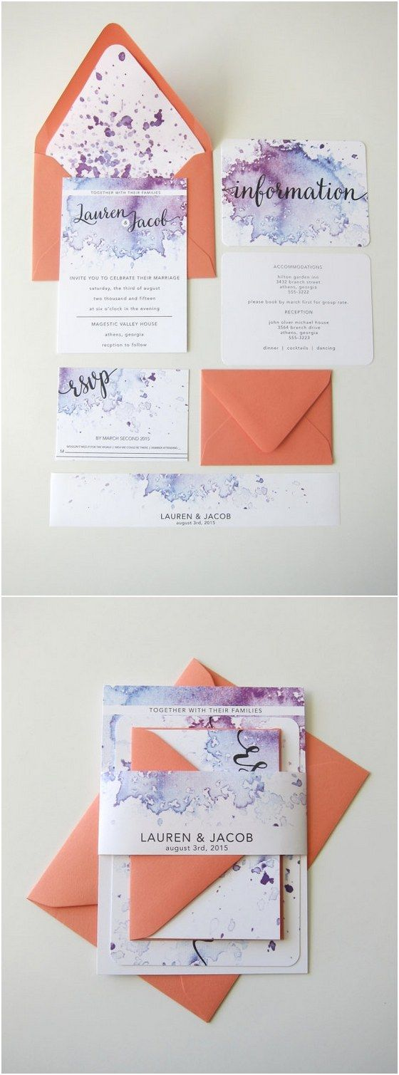 Purple Watercolor Wedding Invitation Kits / http://www.deerpearlflowers.com/29-watercolor-wedding-invitations/