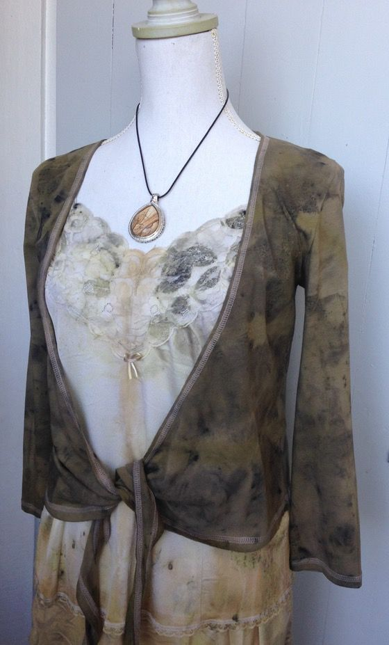 eco dyed tie front cardigan - altered couture by rita summers