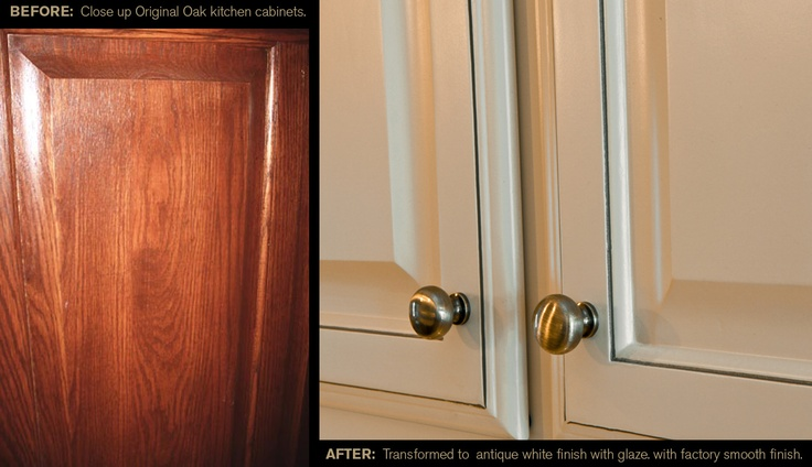 From original oak cabinets to an antique white finish with