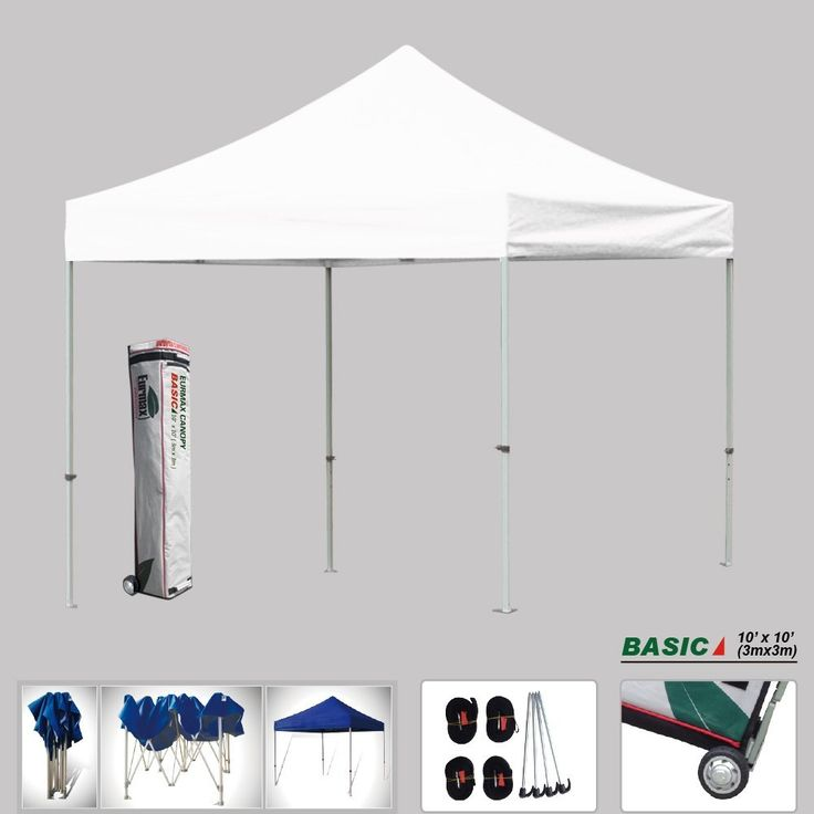 Eurmax Basic 10x10 Ez Pop up Canopy, Instant Tent, Outdoor Party Gazebo, Commercial Level, with Wheeled Storage Bag (White) ** You can get more details by clicking on the image.