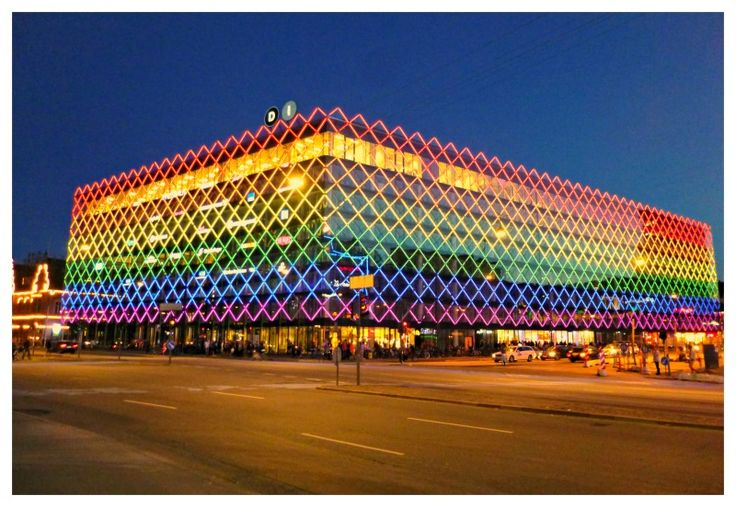 Pride in LED. Dansk Industri (Danish Industry) HQ lit up by their LED pride display.
