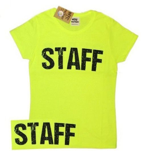 Ladies Neon Yellow Safety Green Staff T-Shirt Front & Back Print Event Shirt Tee