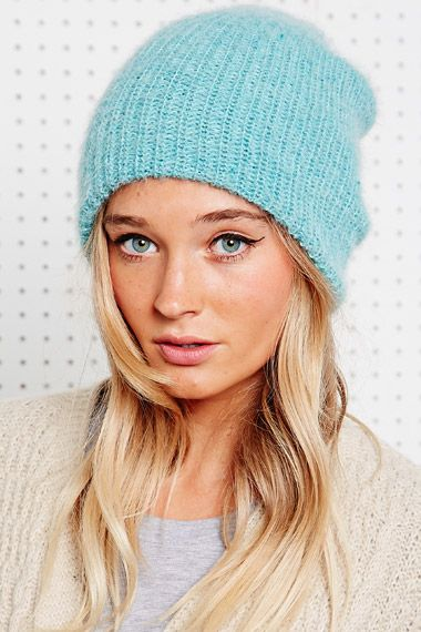 Mohair Beanie Hat in Mint at Urban Outfitters