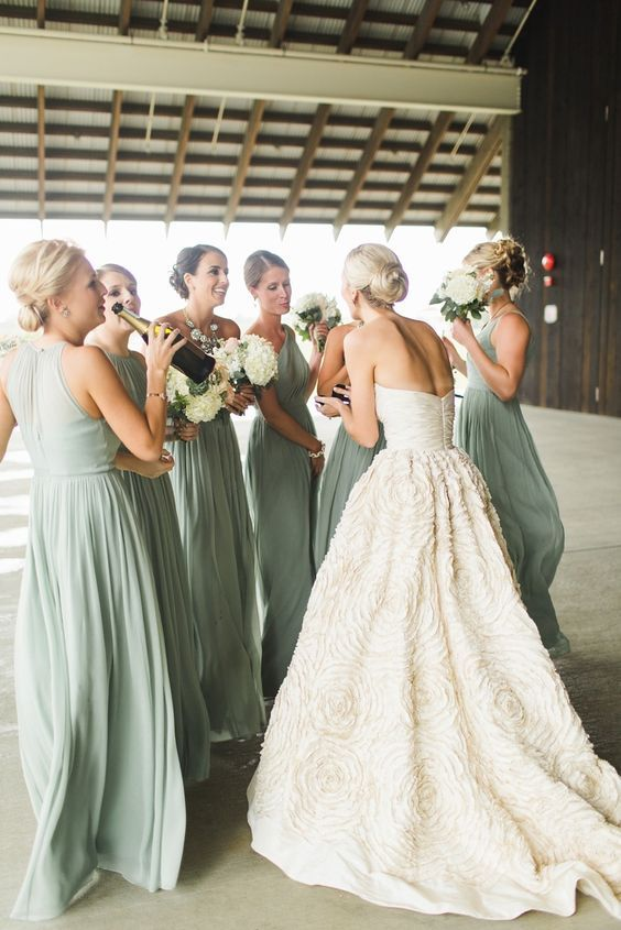 Fern colored bridesmaid dresses