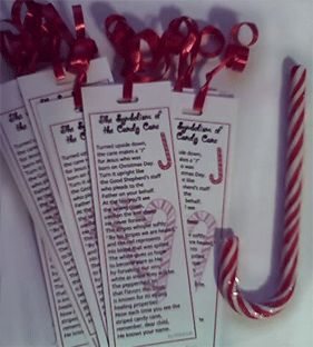 Candy Cane Bookmarks--Symbolism of the Candy Cane poem printable.  Just punch a hole and insert a ribbon.  Makes a great gift topper.