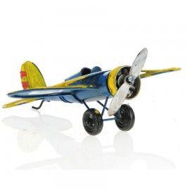 Retro Metal Uçak Sarı Kanat