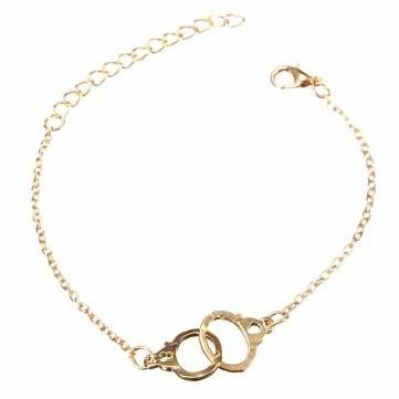 Handcuffs Buckle Gold Silver Alloy Bracelet