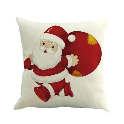 Tronzo Christmas Decorations For Home Merry Reindeer Linen Jute Pillow Cover Adornos Navidad 2017